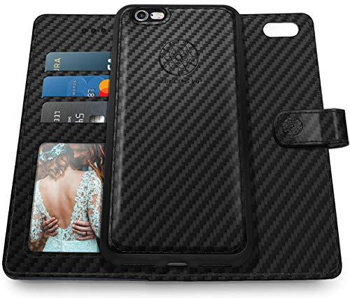 Shields Up iPhone 6S Plus Case/iPhone 6 Plus Case, [Detachable] Magnetic Wallet Case, Durable Carbon Fiber Case with Card/Cash Slots, [Vegan Leather] Cover for Apple iPhone 6S Plus /6 Plus - TXW