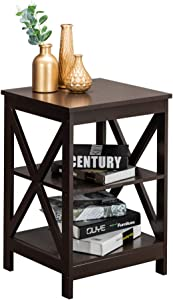 Mecor Modern Wood End Side Table with Shelf, X-Design Bedside Table Nightstand Display Unit, Brown