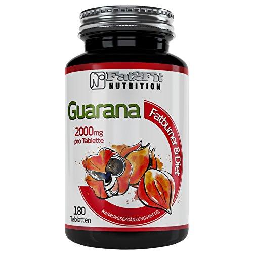 Guarana 180 Tabletten je 2000mg von Fat2Fit Nutrition