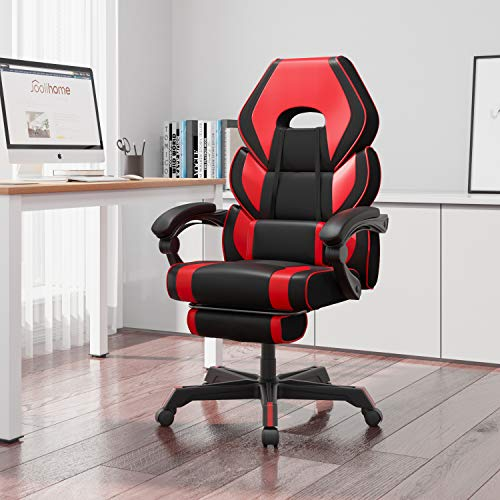 HWIN Gaming Chair with Footrest,Ergonomic Office Chair with Arms Reclining Executive Computer Desk Chair with Back and Lumbar Support Comfy PC Swivel Chair (Red)