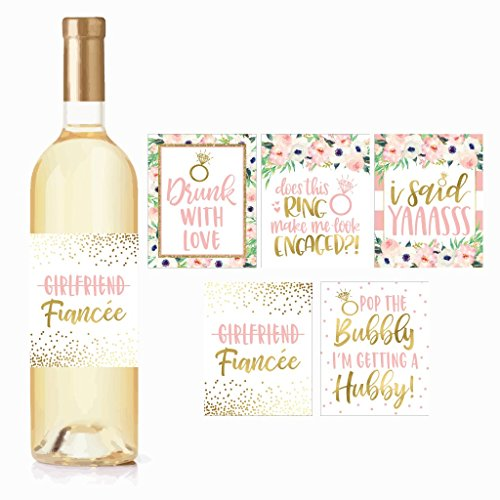 5 Engagement Party Gift Wine Labels Stickers, Cute Pink Gold Newly Engaged Decoration Supplies For Couples Men Women I'm Does This Ring Make Me Look Just Engaged Funny Wedding Ideas For Him Her Fiance