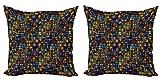 ABAKUHAUS Antiguo Set de 2 Fundas para Cojín, Mosaicos de Estilo Victoriano, con Estampado en Ambos Lados con Cremallera, 40 cm x 40 cm, Multicolor