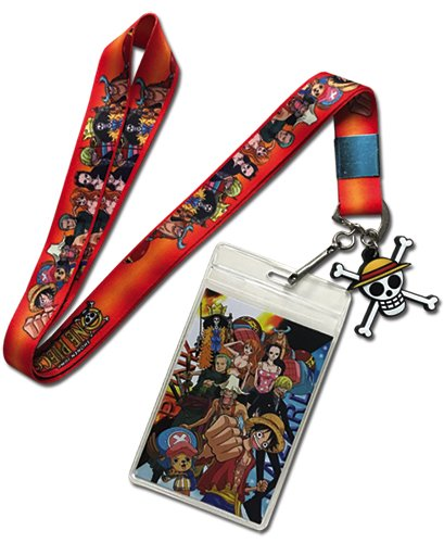 One Piece Luffy and Crews Group Lanyard with Badge ID Holder and PVC Charm