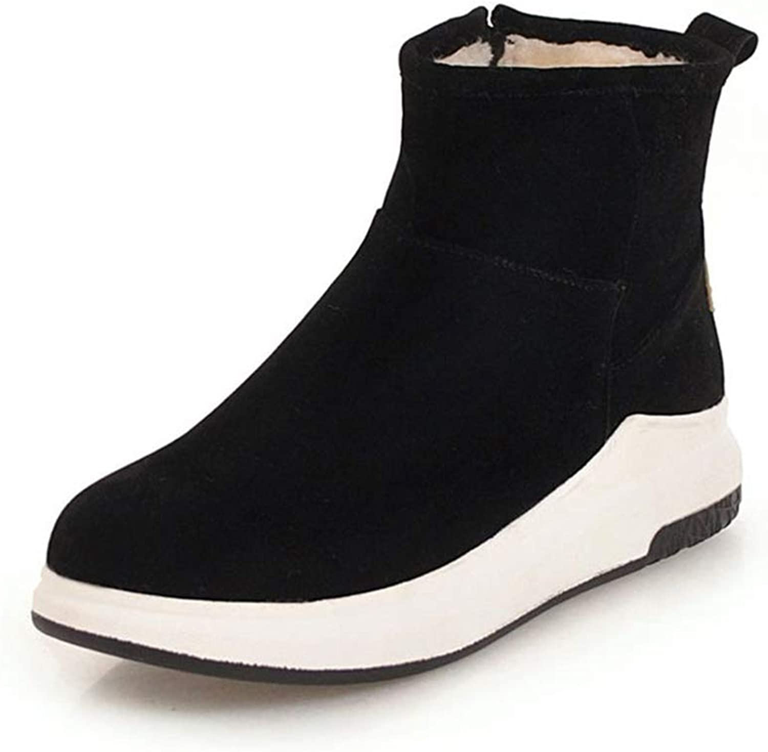 GIY Women's Round Toe Ankle Boots Breathable Winter Warm Cotton Fur Slip On Casual Flat Low Heel Platform Snow Boots