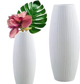 Live with Love 2 vases en céramique blanche parfait pour fleurs et plantes dans Mariage Fête décoration DIY Blanc