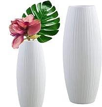 Live with Love 2 jarrón de cerámica blanca perfecto para flores y plantas para decorar los bodas, fiesta, hogar.