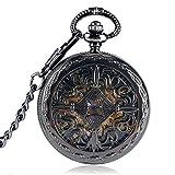 SHKUU Reloj Bolsillo Unisex Moda Rejillas góticas Caja Flores Steampunk Esqueleto automático mecánico Regalo Cadena Reloj Bolsillo