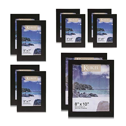 Klikel - Juego de marcos de fotos de madera (10 unidades, incluye 4 de 4 x 6, 4 de 5 x 7 y 2 de 8 x 10)