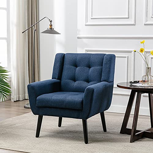 Modern Accent Chair, Tufted Upholstered Single Lounge Sofa Chair, Comfy Linen Fabric Armchair, Mid-Century Leisure Chair with Black Metal Legs for Living Room, Bedroom, Home Office (Blue)
