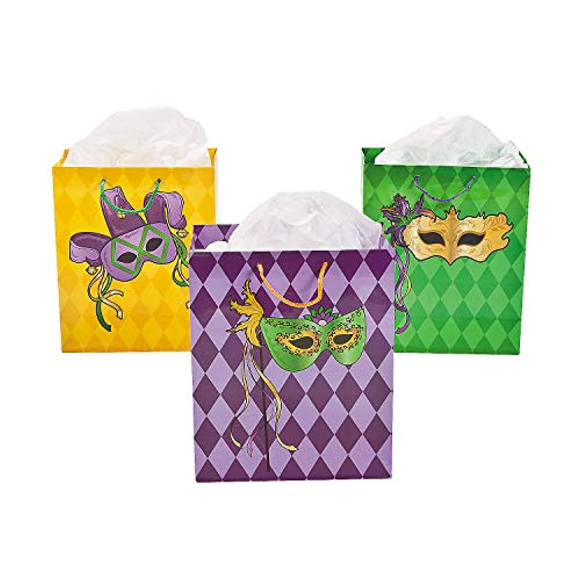 Fun Express - Med Masquerade Gift Bags for Mardi Gras - Party Supplies - Bags - Paper Gift W & Handles - Mardi Gras - 12 Pieces