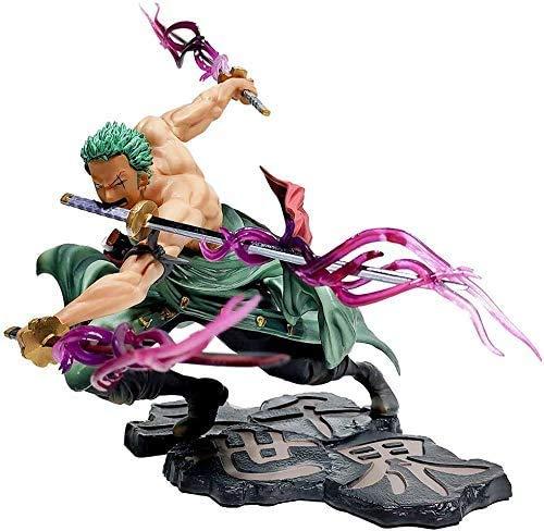 Anime One Piece Roronoa Zoro Figura Tre coltelli Mille mondi in PVC Modello da collezione Action Figure Decorazione Ornamenti 18CM