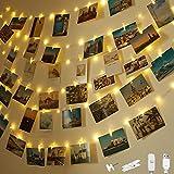 Clip Cadena de Luces LED, Litogo 10+1.5m 100 Led Luces Pinzas Colgar Fotos, 60 Pinzas para Fotos con Energizado por Usb, Clip Cadena de Luces Led para Decoración Habitacion Bodas Fiesta Navidad