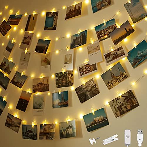 Litogo Lichterkette mit Klammern für Fotos,10+1.5m 100 LED Foto Lichterkette 60 Fotoclips USB Stecker Lichterkette Bilder Aufhängen deko für Wohnzimmer,Schlafzimmer,Weihnachten,Hochzeit,Party-Warmweiß