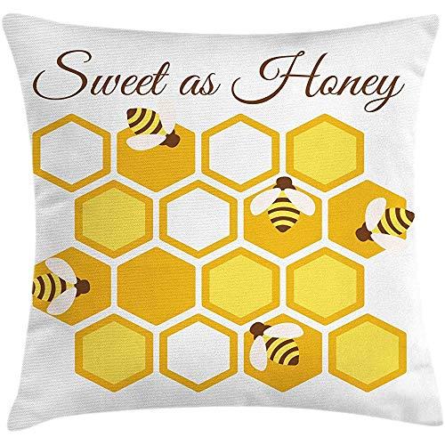SSHELEY Honing Bee Kussensloop, Cursieve Kalligrafie Bijenkorf Zeshoeken Grafisch, Kussensloop, Donker Rozenhout Aarde Geel Mosterd