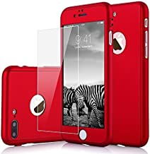 iPhone 8 Plus Case, iPhone 7 Plus Case, KMISS 2 in 1 Ultra Thin Full Body Protection Hard Premium Luxury Cover [Slim Fit] Shock Absorption Skid-Proof PC case for Apple iPhone 7/8 Plus (Red)