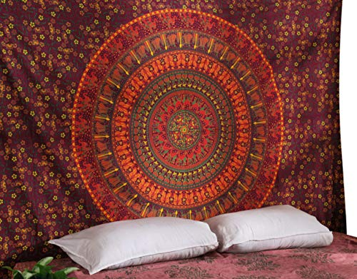 RAJRANG BRINGING RAJASTHAN TO YOU Tapiz Pared - Tapices Mandala Hippie Colgar en la Pared Boho Bohemio Tapiz Indio Toalla de Playa Camel Tapestry Red Wall Hanging - Rojo - 213 x 137 cm