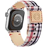 Adepoy Fabric Cloth Bands Compatible with Apple Watch 44mm 42mm 40mm 38mm, Canvas Strap with Soft Genuine Leather Lining and Snap Button for Apple iwatch Series 6/5/4/3/2/1 SE,Plaid 38/40mm