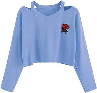Pumsun Womens Long Sleeve Sweatshirt Rose Print Causal Fashion Tops Blouse