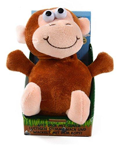 Kögler 75611 - Laber Affe Zulu, Labertier mit Aufnahme- und Wiedergabefunktion, plappert alles witzig nach und bewegt sich, ca. 18 cm groß, ideal als Geschenk für Jungen und Mädchen