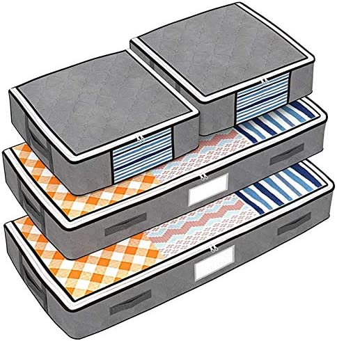 Isbasa 4 Pack Under Bed Storage Bags 2 Underbed Storage Bags and 2 Organizer Cubes with 4 Reinforced product image