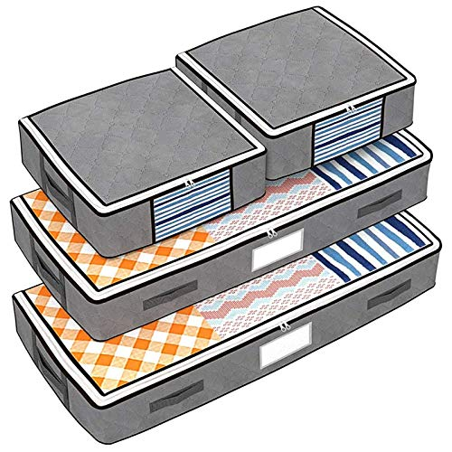 Isbasa 4 Pack Under Bed Storage Bags, 2 Underbed Storage Bags and 2 Organizer Cubes with 4 Reinforced Handles, Pocket for Labels and Clear Windows for Comforters, Clothes, Blankets, Bedding, Grey