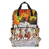 Rucksack für Studenten, 7 Laufhaus-Muster, Grundschule bis 35,6 cm (14 Zoll) Laptoptasche, Schulranzen, Geschenk für Kinder, Mädchen, Jungen, Teenager