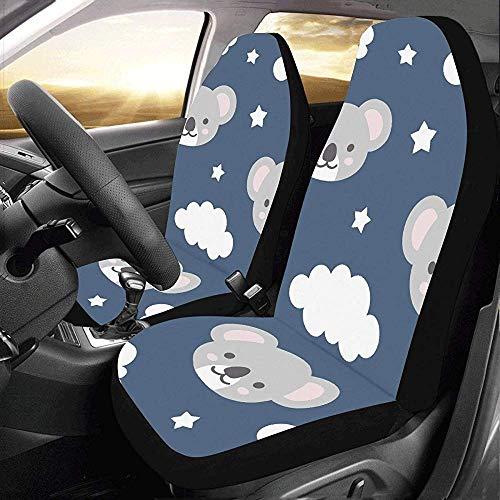 Car Seat Cover, leuke grijze karikatuur, luier koala, perfecte autostoelhoezen voor auto-vrachtwagens, 2 stuks