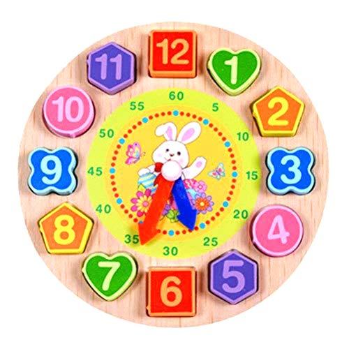 Houten vorm sortering klok/houten klok met cijfers en vormen blokken sorteerder, houten leerklok puzzel klok speelgoed digitale 12 cijfers klok blokken pedagogisch intellectueel speelgoed C