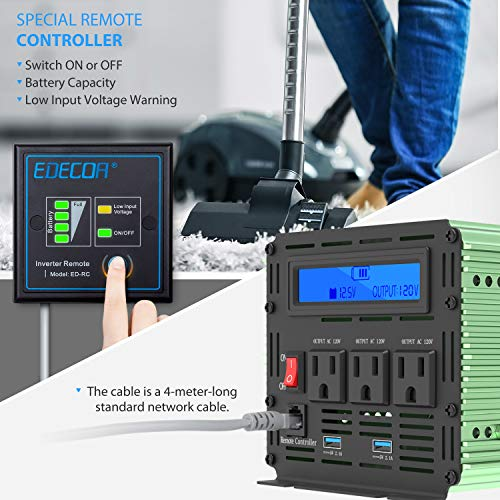 Edecoa 2000W Power Inverter 12V DC to 110V AC Power Converter with Remote Controller with USB