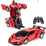Samate Deformation Robot Car Toy for Kids, Electric Car Model with Remote Controller,RC Car One Button Change into Robot Birthday Gift.