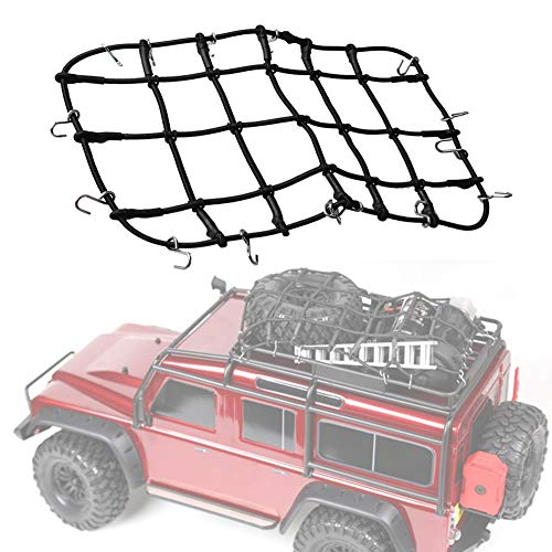 Mini Suitcase Net Rubber Elasticity Remote Control Car Roof Rack Storage Net, For Axial With Fixed Hook Children Car (Color : Black, Size : 19.5x12.5cm)