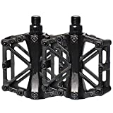 Free-fly Bicycle Pedal - Aluminum Bearing Bike Pedals with 16 Anti-Skid Pins - Lightweight Platform Pedals - Universal 9/16' Bike Pedal for Mountain BMX MTB Road Bike (Black)