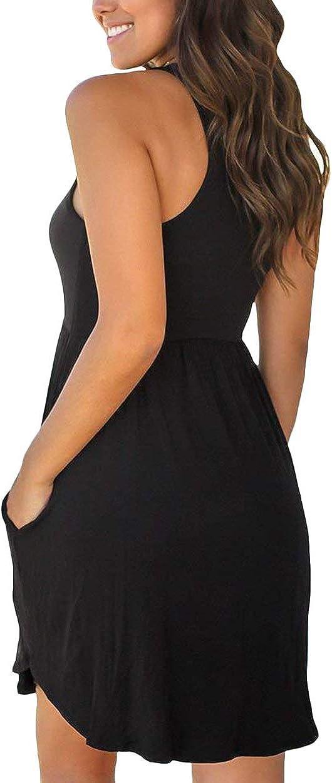 ZICUE Womens Sleeveless Summer Swimsuit Cover Ups Dress High Waist Simple T Shirt Dress with Pockets XS-XL