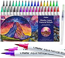 Brush Pens, Ohuhu Watercolor 36 Colors Water-based Paint Markers Pens Set with 12-Sheet Watercolor Pad and A Blending...