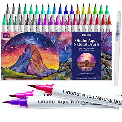 Brush Pens, Ohuhu Watercolor 36 Colors Water-based Paint Markers Pens Set with 12-Sheet Watercolor Pad and A Blending Aqua Nylon Brush Tip for Coloring Calligraphy Drawing