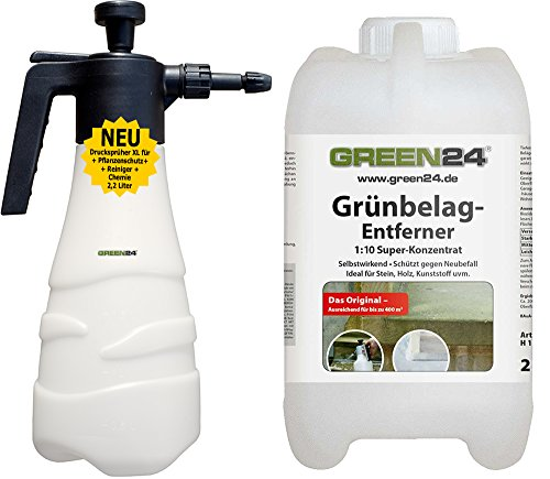GREEN24 Grünbelag-Entferner 2 L mit XXL Sprüher 2,2 L als PROFISET, Algenentferner für Naturstein, Platten, Pflaster, Holz, Kunststoff u. Terrasse Set