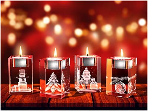 GLASFOTO.COM, Weihnachten Teelichthalter, 50 x 80 x 50 mm, Kristallglas 3D Innengravur in Premiumqualität (50 x 80 x 50 mm Adventsteelichtset 6)