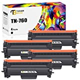 Toner Bank Compatible Toner Cartridge Replacement for Brother TN760 TN-760 TN730 TN-730 for MFC-L2710DW DCP-L2550DW HL-L2350DW HL-L2390DW MFC-L2750DW HL-L2395DW HL-L2370DW Printer Ink (Black, 4-Pack)