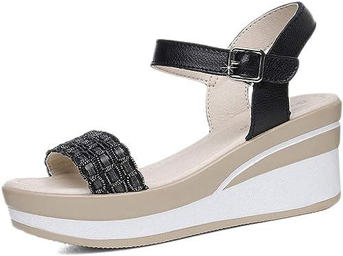 L-X Chaussures Compensées pour Les Les dames Plate-Forme Strappy Strappy Strappy Outdoor Open Toe Summer Student Boucle Inférieure épaisse en Cuir Talons Hauts, Noir, 35 UE 4d9