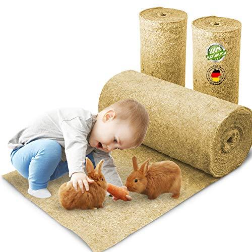 Nagerteppich aus 100% Hanf auf Rolle mit 10m Länge, 40cm Breite, 5mm dick, Hanfteppich für alle Arten Kleintiere, Hanfmatte Nagermatte Nager-Teppich