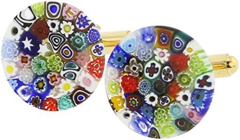 GlassOfVenice Gemelos Millefiori de cristal de Murano, 3/4 pulgadas