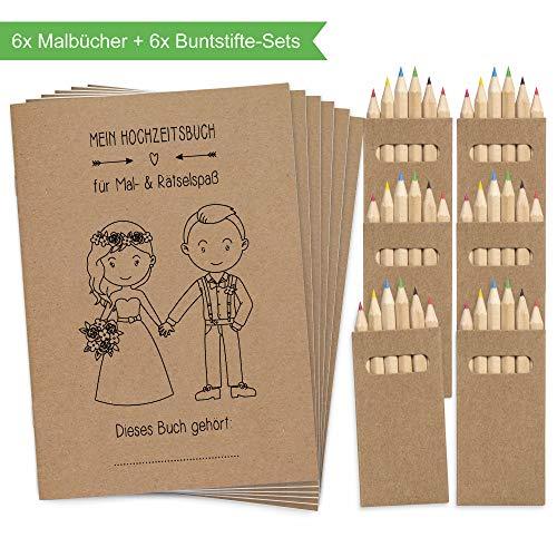 Wedding Shop Love Grows 6 Stück Hochzeitsmalbuch mit Buntstifte-Set / 24-seitiges Malbuch zur Hochzeit für Kinder als Gastgeschenk Mitgebsel