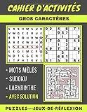 Cahier D'activites: Sudoku facile à difficile, recherche de mots mêlés en anglais et labyrinthe avec des solutions, jeux de réflexion, cahier ... adultes , amuser et défier votre cerveau !
