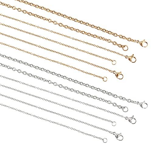 UNICRAFTALE 12 Uds 3 tamaños 45~60 cm Collar de Cadena de Cable Cadena de Acero Inoxidable con Cierres de Langosta Cadena de Cable para Collar DIY