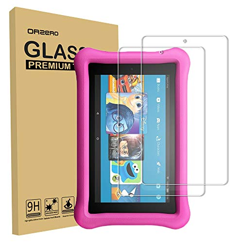 (2 Pack) Orzero For All-New Amazon Kindle Fire 7 2019, Fire HD 7 Kids Edition (2017 released) Tempered Glass Screen Protector, Bubble-Free 9 Hardness HD Anti-Scratch (Lifetime Replacement)