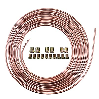 "25 Ft. 3/16 OD Copper Nickel Brake Line Tubing Kit 3/16"" x 25' with Fittings"