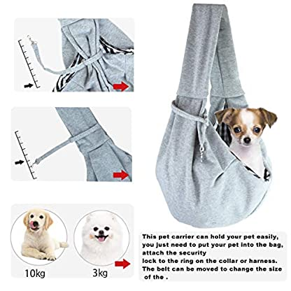 GHIFANT Dog and Cat Sling Carrier Little Pet Carrier Shoulder Crossbody Pet Slings for Outdoor Traveling Subway (Large Space) 6