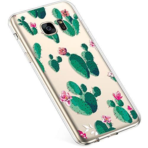 Uposao Coque pour Samsung Galaxy S7 Silicone Etui, Galaxy S7 Coque Transparent avec Motif Fleur Crystal Clear Case Premium Semi Hybrid Ultra Mince Slim Soft TPU Antichoc Bumper,Cactus Fleur