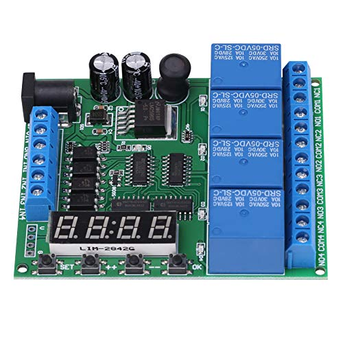 Módulo de interruptor de relé temporizador, relé de tiempo de retardo multifunción de aislamiento óptico de entrada de 4 canales CC, duradero para ventiladores de luces LED