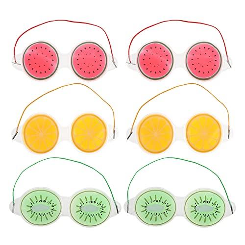 Healifty 6Pcs Gel Auge Masken Nette Obst Kalten Heißer Packs Wiederverwendbare Kühlung Eis Auge Abdeckungen für Augenringe Schwellungen Migräne Augen Geschwollen Relief